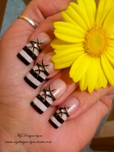 Black and white french nail art design. for tutorials visit www.youtube.com/...