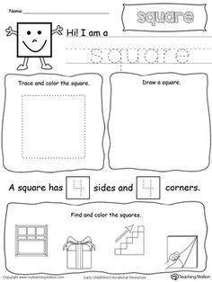 *FREE* All About Squares: Learn all about the shape square in this math printable worksheet. Practice tracing, drawing, coloring pictures of squares, writing the number of sides and corners.