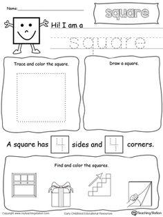 shapes,square shape,drawing shapes,shape sides,shape name,tracing shapes,tracing,kindergarten printables,preschool printables,kindergarten math,preschool math,preschool worksheets,square