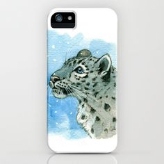 Snow Leopard & snowflakes 860 iPhone & iPod Case by S-Schukina - $35.00