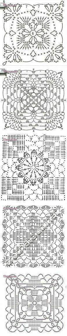 Transcendent Crochet a Solid Granny Square Ideas. Inconceivable Crochet a Solid Granny Square Ideas. Crochet Motif Patterns, Crochet Blocks, Crochet Chart, Crochet Diagram, Crochet Squares, Thread Crochet, Love Crochet, Crochet Granny, Crochet Designs