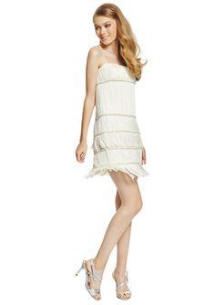 MIGNON White Sleeveless Tiered Fringe Dress