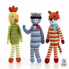 These delightful characters are part of our farmyard baby toy collection.  Chickens, raccoons and foxes are all popular characters in story books and you can now buy a baby toy character.  All are fair trade, handmade and suitable from birth.  Who can resist these stripe baby toys.