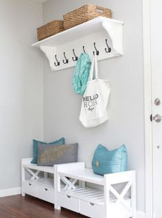 Triple your storage and boost organization at your entryway with clever shelving, hooks, and drawers. Room Paint Colors, Paint Colors For Living Room, Furniture Makeover, Diy Furniture, Boho Living Room, Home Organization, Home Interior Design, Home Projects, Home Remodeling