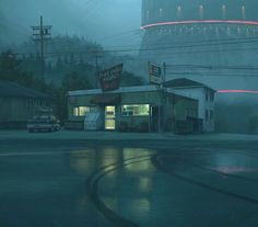 No Wifi in this town by Simon Stalenhag : Cyberpunk Nocturne, Urbane Fotografie, Night Aesthetic, Illustration, Environment Concept Art, Small Towns, Cinematography, Oeuvre D'art, Pixel Art