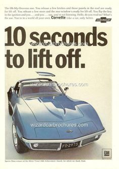 1968 CHEVROLET CORVETTE A3 POSTER AD SALES BROCHURE MINT