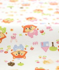Cute Foxes and Lambs Design 40s Cotton Interlock by luckyshop0228