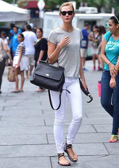 Karlie keeping it classic #offduty in NYC. #KarlieKloss