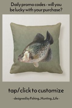 Chubby Crappie Fish Throw Pillow #crappie #white #crappie #fishing #angler #ThrowPillow