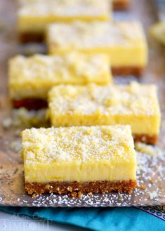 These Lemon Drop Bars are extra creamy and topped with candied lemon zest for the BIGGEST lemon flavor possible! So easy to make, deliciously sweet and tart, you'll find these Lemon Drop Bars hard to resist! Lemon Dessert Recipes, Lemon Recipes, Mexican Food Recipes, Sweet Recipes, Baking Recipes, Cookie Recipes, Fudge, Dessert Bars, Food Cakes