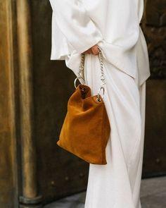 Suede golden brown bag