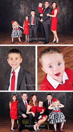 family photo color scheme red, grey, black & white. Great for holiday cards.