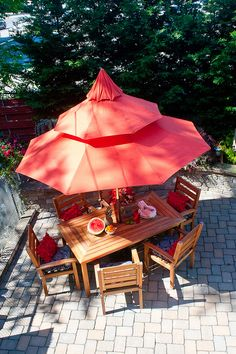 Outdoor patio retreat featuring Pier 1 Chili Pagoda Umbrella