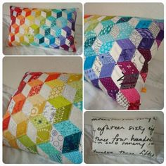 Here's the EPP pillow I made for my #pillowswapfourseasons partner sabiesews in the Summer round! Thanks to @rockislander for the scrap packages of rainbow goodness, I didn't use all, but they definitely helped me along!