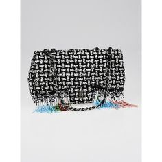 Pre-owned Chanel Black/White Quilted Tweed and Beaded Fringe... ($4,195) ❤ liked on Polyvore featuring bags, handbags, preowned handbags, chain purse, western handbags, chanel handbags and chain handle purses