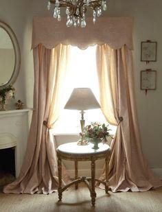 Soft pink draperies