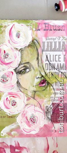 Work in progress in my art journal - goddess fairy girl....addicted to pink and green! art journaling in mixed media with sketching and big old fashioned blossoms.