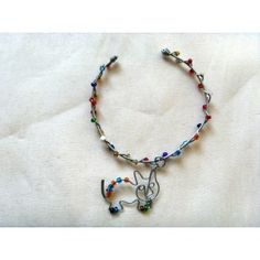 Wire wrapped kitten bracelet w colored beads