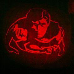 My Christopher Reeves Superman pumpkin carving