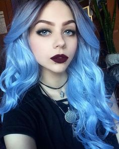 Blue Wigs Lace Frontal Hair Curly Hairstyles For Medium Hair Pastel Blue Hair Cleopatra Wig Ombre Hair Color, Cool Hair Color, Blue Ombre, Blue Hair Dye Colors, Grunge Goth, Grunge Hair, Medium Hair Styles, Curly Hair Styles, Pastel Blue Hair