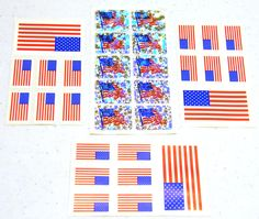 American Flag Stickers Seals. $1.00, via Etsy.