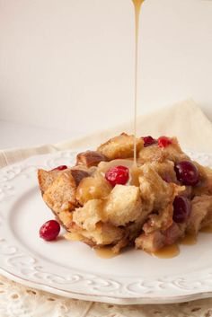 Cranberry Bread Pudding with Caramel Sauce