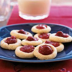 Raspberry Thumbprint Cookies | MyRecipes.com