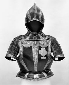 Armor  Date:ca. 1560–65Culture:Northern German, possibly Brunswick-WölfenbüttelMedium:Steel, etched and blackenedDimensions:Weight, 28 lb. 14 oz. (13.1 kg) Weight of helmet, 5 lb. 10 oz. (2551 g) Weight of breastplate,10 lb. 15oz. (4961 g)Classification:Armor for ManCredit Line:Gift of William H. Riggs, 1913Accession Number:14.25.711a–d  metmuseum.org