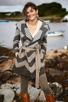 I own this and love it!  Striped Chevron Sweatercoat - anthropologie.com
