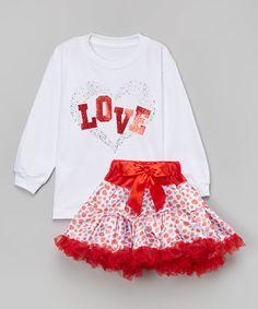 Look at this #zulilyfind! White 'Love' Tee & Hearts Pettiskirt - Toddler & Girls by So Girly & Twirly #zulilyfinds