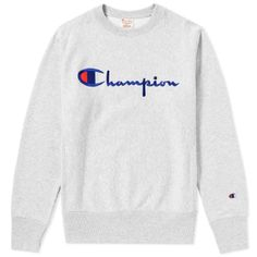 American brand Champion and its infamous Reverse Weave line – which utilises a vertical shrink-resistant knitting process – returns this season, Grey Champion Sweatshirt, Champion Reverse Weave Sweatshirt, Grey Sweatshirt, Champion Pullover, Sweatshirt Outfit, Trendy Hoodies, Cute Sweatshirts, Champion Clothing, Script Logo