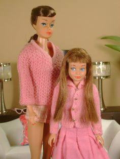 """Vintage Titian Swirl Barbie """"Vacation Time"""" and Titian Skipper in """"School Days"""" (mid 60's)"""