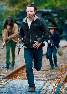 "Rick, Carl, and Michonne in ""A"""