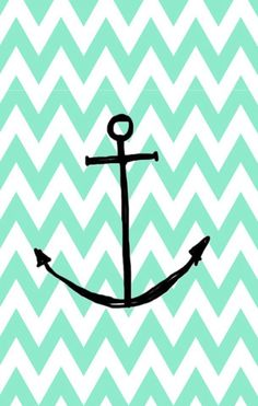 Cute mint anchor wallpaper for iPhone