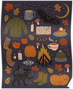 The Artwork of Camille Chew Cute Autumn/Halloween wallpaper. Theme Halloween, Fall Halloween, Halloween Poster, Illustration Inspiration, Autumn Illustration, Halloween Illustration, Fall Inspiration, Motivation Inspiration, Autumn Cozy