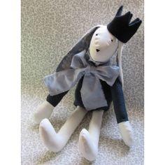 Handmade Fabric Bunny Doll with Crown Fabric Crafts, Smurfs, Burlap, Bunny, Presents, Felt, Crown, Dolls, Handmade