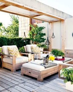 trays are nice, bright indirect light (?) & deep seating are great - mmr 57 Cozy Rustic Patio Designs | DigsDigs