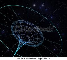 llustration of the spacetime bending by a black hole.