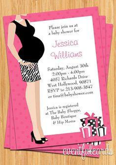 Pink Tummy Baby Shower Invitation  Print Yourself by eventfulcards