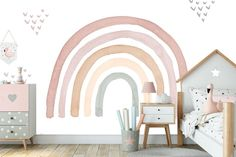 Watercolor Rainbow in Earthy Tones Wall mural Colorful Rainbow Wall Mural Rainbow Wallpaper Wall décor Nursery and room décor Wall art Big Girl Rooms art Colorful Decor Earthy Mural Nursery Rainbow room Tones Wall Wallpaper Watercolor