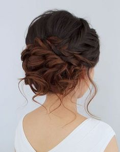 Terrific Beautiful romantic messy curled prom or bridal updo from Jouvence Aveda salon. The post Beautiful romantic messy curled prom or bridal updo from Jouvence Aveda salon…. appeared first . Hair Inspo, Hair Inspiration, Wedding Inspiration, Medium Hair Styles, Curly Hair Styles, Updo Curly, Hair Medium, Curly Updos For Medium Hair, Hair Styles For Prom