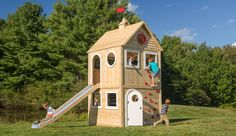 Playhouse 686 wooden playhouse is splinter-free, chemical-free, and maintenance-free and features swings, slides, climbing walls, jungle gyms, and more