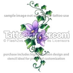 Purple Bloom Ivy tattoo design by Gail Somers