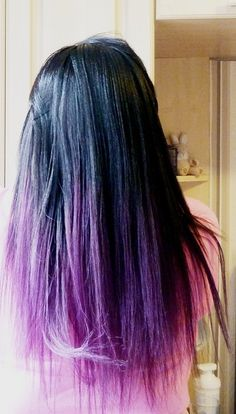 My hair in about 3 months!!! After wedding colour! Black with purple dip dyed hair