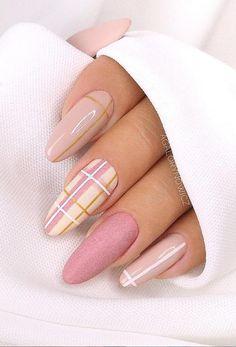 Aycrlic Nails, Hair And Nails, Manicure, Coffin Nails, Stiletto Nails, Oval Nails, Cute Acrylic Nail Designs, Cute Acrylic Nails, Plaid Nail Designs