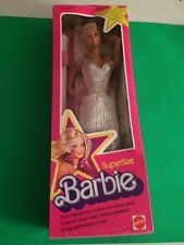1976 Vintage Mattel SuperSize Barbie Doll  18 inches # 9828 NRFB White Gown