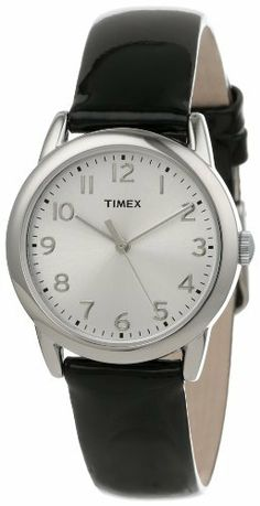 Timex Women's T2P1192M Black Patent Leather Strap Watch Timex. $39.96. Durable mineral crystal protects watch from scratches. Round silver-tone brass case with  sunray finish silver-tone dial and full Arabic numerals. Water-resistant to 30 M (99 feet). Quartz analog movement with three hands. Black genuine patent leather strap. Save 20% Off!