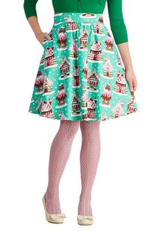 Gingerbread Home Sweet Home Skirt - Green, Red, Pink, White, Holiday, A-line, Better, Novelty Print, Winter, Mid-length, Cotton, Woven