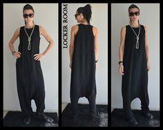 Maxi jumpsuit /Loose black jumper /Low crotch jumpsuit by ClothesByLockerRoom on Etsy