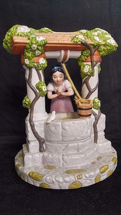 By Disney Snow White well Porcelain Figurine Statue Musical Box I'm Wishing #Disney